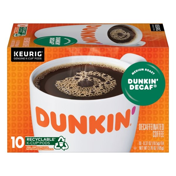 Dunkin' Donuts  Dunkin' Decaf K-Cup Pods, 10 Count