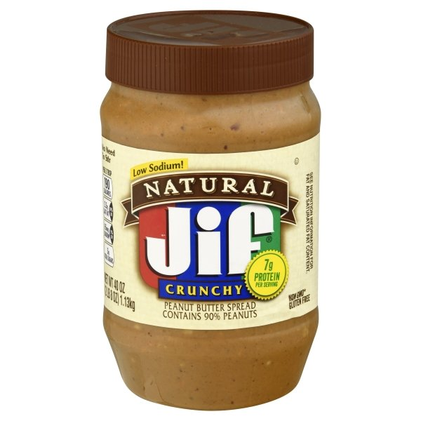 Jif Natural Natural Crunchy Peanut Butter Spread Contains 90% Peanuts